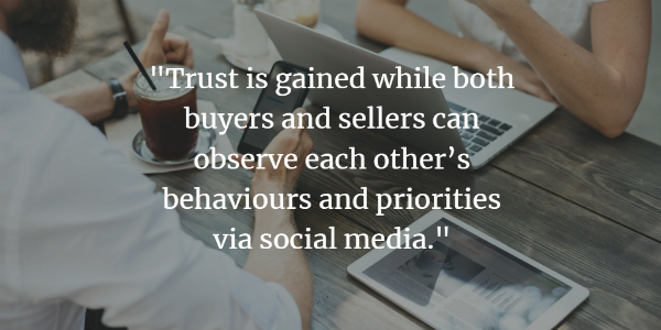 Trust is gained while both buyers and sellers can observe each other's behaviors and priorities via social media.